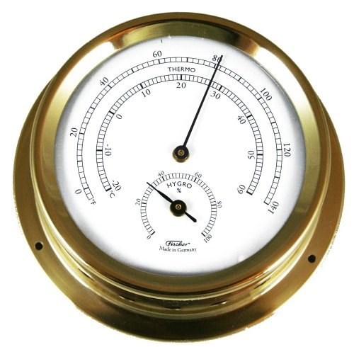 - Ambient Weather Fischer 1508TH-45 Polished Brass Marine Thermo-Hygrometer, 5-Inch