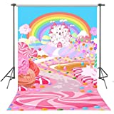 FUERMOR 5x7ft Fairytale Candy World Backdrop Props Cartoon Rainbow and Castle Photography Background For Children FANGFU048