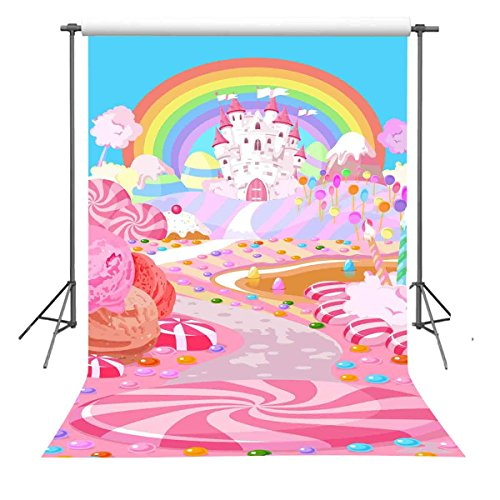 FUERMOR 5x7ft Fairytale Candy World Backdrop Props Cartoon Rainbow and Castle Photography Background for Children -