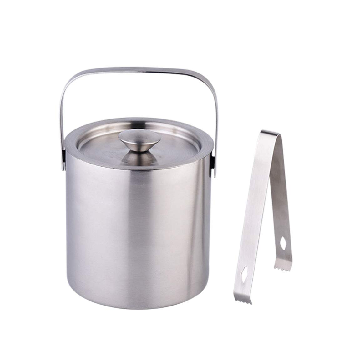 Pinji Insulated Ice Bucket with Lid and Tongs Stainless Steel Kitchen Barware