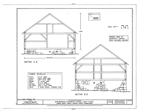 (historic pictoric Structural Drawing HABS PA,15-LONGR.V,3B- (Sheet 3 of 3) - Woodward-Pennock Farm, Cart Shed, 741 Newark Road, Chatham, Chester County, PA 55in x)