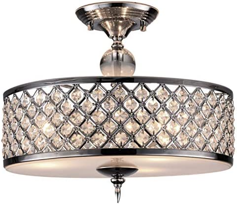 PAPAYA Modern Crystal Raindrop Chandelier 3-Light Semi Flush Mount Ceiling Light Fixture Chrome