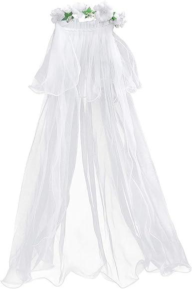 First Communion Veil Girl Bride Halloween Costume Cosplay Tiara Crown Headwear