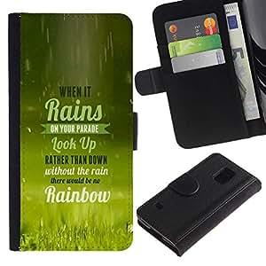 NEECELL GIFT forCITY // Billetera de cuero Caso Cubierta de protección Carcasa / Leather Wallet Case for Samsung Galaxy S5 V SM-G900 // Cuando llueve TIPOGRAFÍA