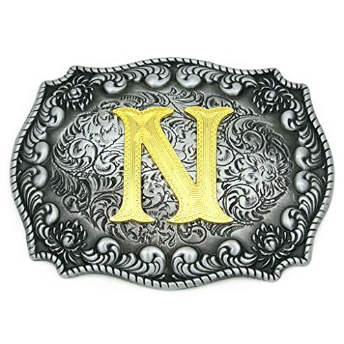 Upgrade Western Belt Buckle Initial Letter ABCDEFG to Y- Cowboy Rodeo Large Gold Silver Metal Buckles for Men Women