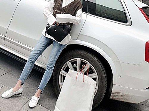 de Zapatos White Mujer Blanco Sweet Color Zapatos Pure Ocasionales Planos Black Cómodos 1wxI4tCaEq