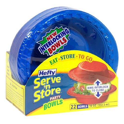 Hefty Serve 'N Store 18 oz Party Interlocking Bowls, Case Pack, Eight - 22 Count Packs (176 Bowls)