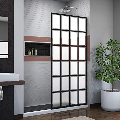 Shower Panel Design (DreamLine French Linea Rhone 34 in. W x 72 in. H Single Panel Frameless Shower Door, Open Entry Design in Satin Black, SHDR-3234721-87)