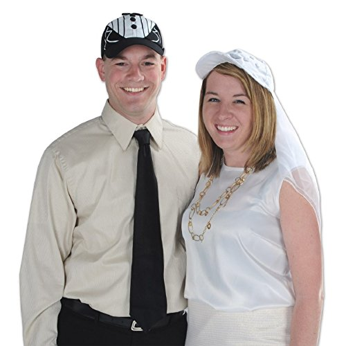 Club Pack of 12 Wedding or Anniversary Themed Black Tux Cap Costume Accessories