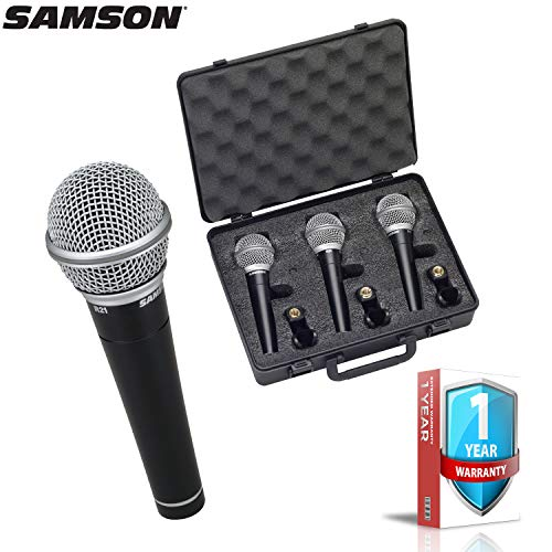 Samson R21 3-Pack Dynamic Vocal and Presentation Microphones with Hard Carrying Case, Windscreens AND 1-Year Extended Warranty Bundle