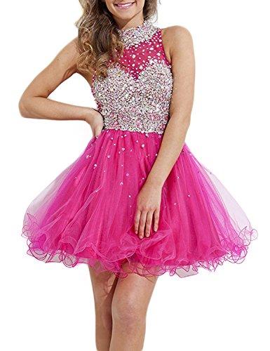 Hot Prom Kleides k Formelle Women' Crystal Fanciest nigsblau Kurz Homecoming Pink Halter Kleid TRXAXPwqgW