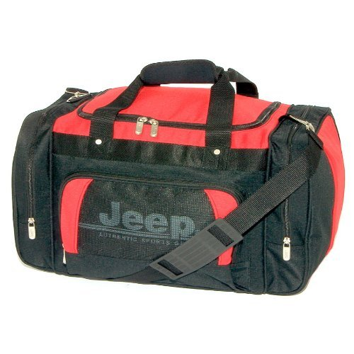 "Jeep Ultra Strong hombro gimnasio deportes bolsa de escuela, color negro/rojo, tamaño 24""red"