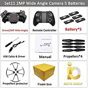 Kovishop XS809S Foldable Selfie Drone with Wide Angle 2MP HD Camera WiFi FPV XS809HW Upgraded RC Quadcopter Helicopter Mini Drone (2MP 5BAT)