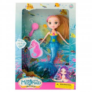 Mermaid Bath toys for girls, and toddlers. Cute Little Mermaid Doll with Hairbrush, Fairy Wings, and Mermaid Tail for Swimming in the Bath Tub– Colors May Vary
