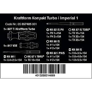 Wera 05057485001 Kraftform Kompakt Turbo i Imperial 1, 16 Pieces