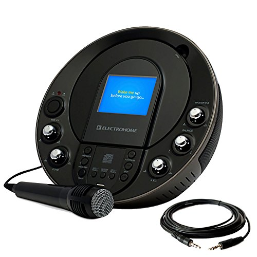 Electrohome EAKAR535 Portable Karaoke CD+G/MP3G Player Speaker System with 3.5'' Screen, 2 Microphone Connections, and Smartphone, Tablets, MP3 Input & Bonus 3.5mm Aux Stereo Cable by Electrohome