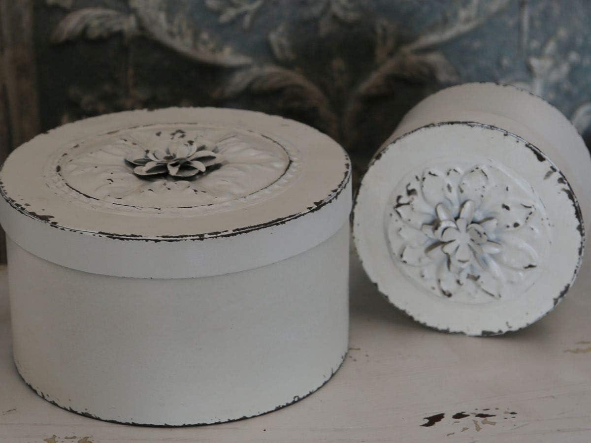 Chic Antique Box mit Rose wei/ß Shabby chic Romantik H/öhe 7 cm Durchmesser 14 cm