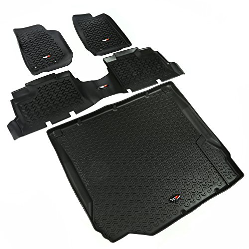Rugged Ridge All-Terrain 12988.01 Black Front, Rear and Cargo Floor Liner Kit For 2007-2010 Jeep Wrangler JKU 4-Door Models