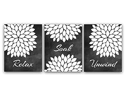 Amazon.com: Relax Soak Unwind, Black and White Bathroom Wall Art ...