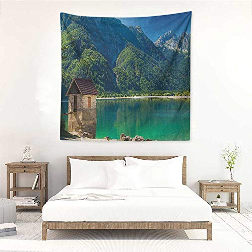 Willsd Italy Wall Tapestry for Bedroom Predil Alpine Lake North Italy Slovenian Border Julian Alps Idyllic Scenery Occlusion Cloth Painting 39W x 39L INCH Sea Green Blue Ivory]()