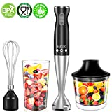 hand blender bowl - Hand Blender, (New Version) 4-in-1 Multifunctional Electric Immersion Blender with Ballon Whisk, 16oz Chopper Bowl and BPA-Free Beaker for Baby Food, Shakes, Smoothies, Sauces, Soup and More [FDA/ETL Approved]