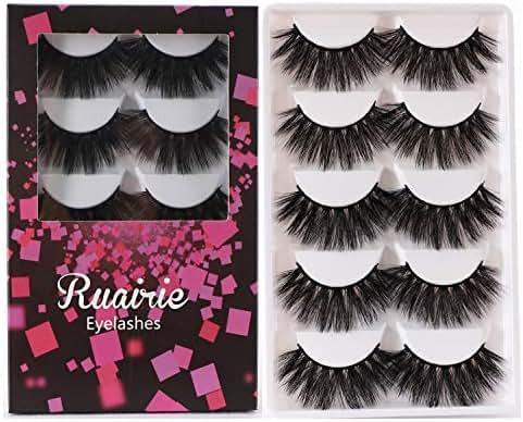 3D False Eyelashes Extension 5 Pairs Long Fake Eyelashes Natural Fluffy False Lashes Ruairie