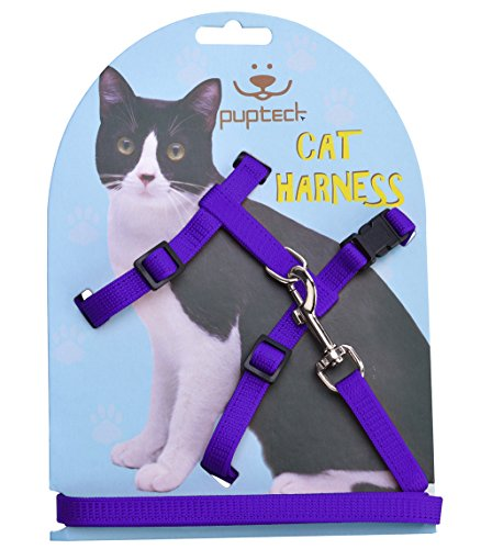 PUPTECK Adjustable Cat Harness Nylon Strap Collar with Leash Purple