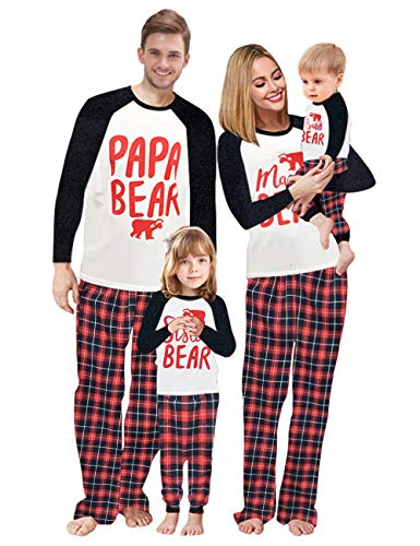 Baonmy Family Matching Christmas Sleepwear Pajamas Set (Men's Small, Red Plaid 01)