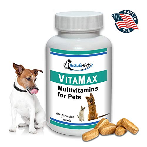 VitaMax Multivitamins for Dogs and Cats; Advanced Nutrition Pet Vitamin Supplement Improves Health of Coat and Skin, Increases Energy, Boosts Your Pet's Immunity and Aids Digestion - 60 Chews