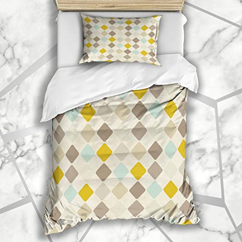 Ahawoso Duvet Cover Sets Twin 68X86 Menswear Beige Coffee Harlequin Pattern On Abstract Wool Vintage Argyle Retro Old Color Design Material Microfiber Bedding with 1 Pillow Shams