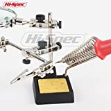 Hi-Spec Heavy Duty Helping Hands Soldering Station Magnifier with 2X Magnification Lens, 2 Rotating Hands, Soldering Stand and Cleaning Sponge GREAT for Soldering, Electronics, Hobby & Craft Projects