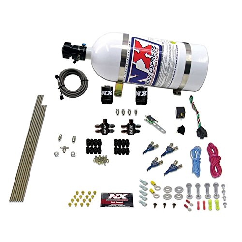 (Nitrous Express 80004EFI-10 50-200 HP 4-Cylinder Gasoline EFI Piranha Nozzle System with 10 lbs. Bottle)