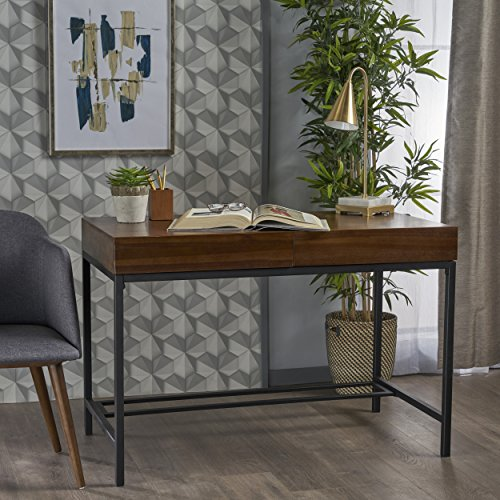 Elrod Industrial Dark Oak Acacia Wood Storage Desk with Rustic Metal Iron Accents by GDF Studio