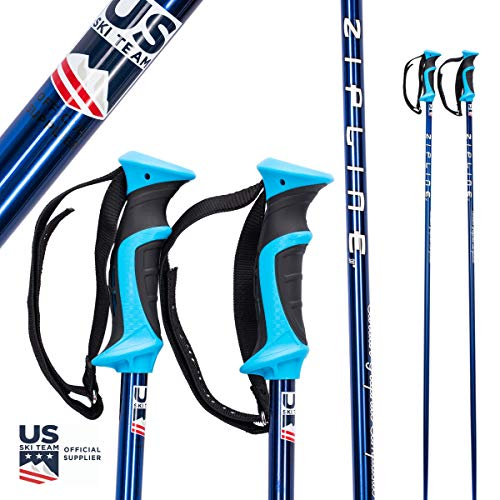 "Ski Poles Graphite Carbon Composite - Zipline Blurr 16.0 - U.S. Ski Team Official Supplier (Blue Chrome, 46"" in./117 cm)"