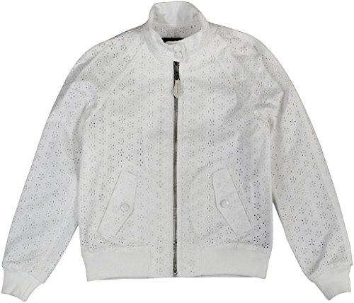 White Eyelet Jacket (Coach Women's Lace Eyelet Raglan Bomber Jacket Small Dove)