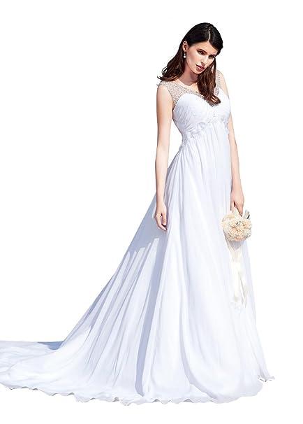Dressilyme - Vestido de novia - corte imperio - Mujer Blanco blanco 22 W
