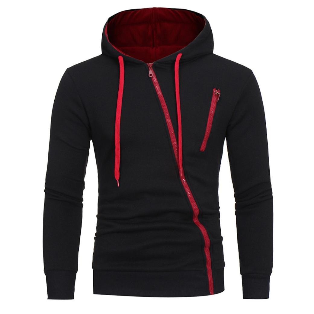 HTHJSCO Men's Eco Zip Hoodie Sweatshirt, Mens' Long Sleeve Hoodie Hooded Sweatshirt Tops Jacket Coat Outwear (Black A, L)