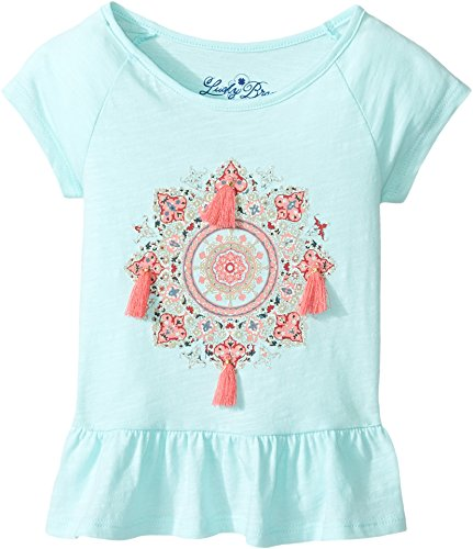 Lucky Brand Kids Baby Girl's Cap Sleeve Mandala Tee With Ruffle Hem (Toddler) Blue Tint - Tint Brand Clothing