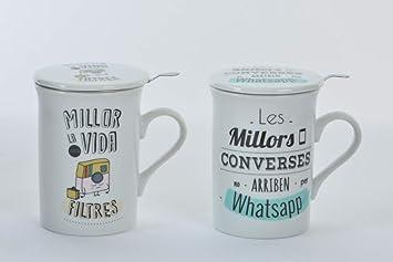 Taza con filtro y tapa para infusiones frases originales (en catalan) Conjunto de Dos tazas (Una de cada frase): Amazon.es: Hogar