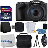 Canon PowerShot SX420 IS 20 MP Digital Camera (Black) with 42x Optical Zoom and Built-In Wi-Fi + 64GB SD Card + Deluxe Camera Case + Memory Card Wallet + Cleaning Kit + Hand Grip + Accessories
