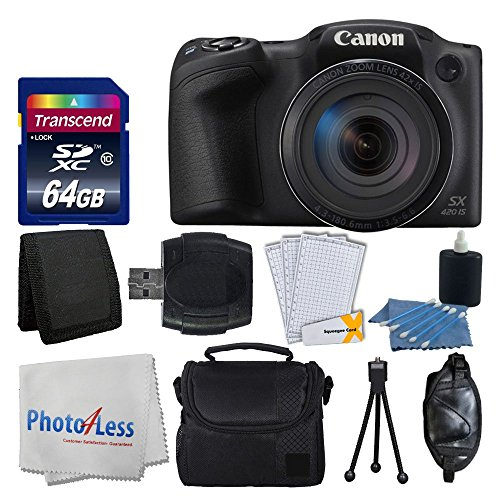 Canon-PowerShot-SX420-IS-20-MP-Digital-Camera-Black-with-42x-Optical-Zoom-and-Built-In-Wi-Fi-Transcend-64GB-Card-Deluxe-Camera-Case-Memory-Card-Wallet-Cleaning-Kit-Hand-Grip-Accessories