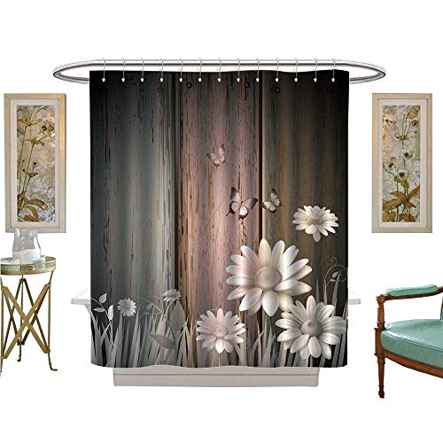 luvoluxhome Shower Curtain Collection by Antique Old Planks American Style Western Rustic Wooden and White Daisies, Grass and Butterflies Patterned Shower Curtain W72 x L72