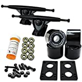 YOCAHER LONGBOARD Skateboard TRUCKS COMBO set w/ 71mm WHEELS + 9.675' Polished / Black trucks Package - Free shipping, Solid Black Wheel, Black Trucks