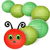 Just Artifacts 10inch Classroom Caterpillar Paper Lanterns Package (1) 10'' Red Chinese Paper Lantern, (3) 10'' Green Paper Lanterns, (3) 10'' Light Green Paper Lanterns, (1) String