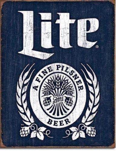 ShopForAllYou Vintage Decor Signs Miller Lite Brewing Beer Bottle Logo Weathered Retro Wall Decor Metal Tin Sign ()