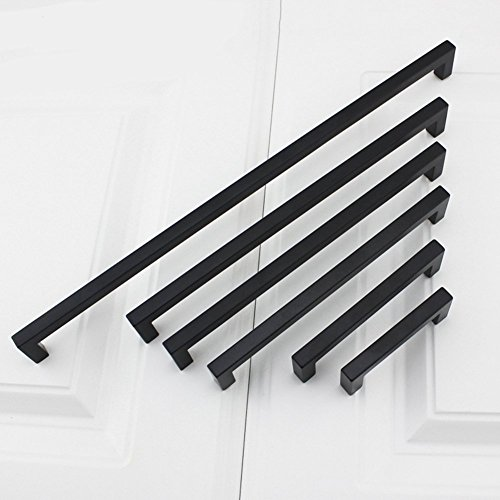 10Pack Goldenwarm Black Square Bar Cabinet Pull Drawer Handle Stainless Steel Modern Hardware for Kitchen and Bathroom Cabinets Cupboard, Center to Center 7-1/2in(192mm) by goldenwarm (Image #8)