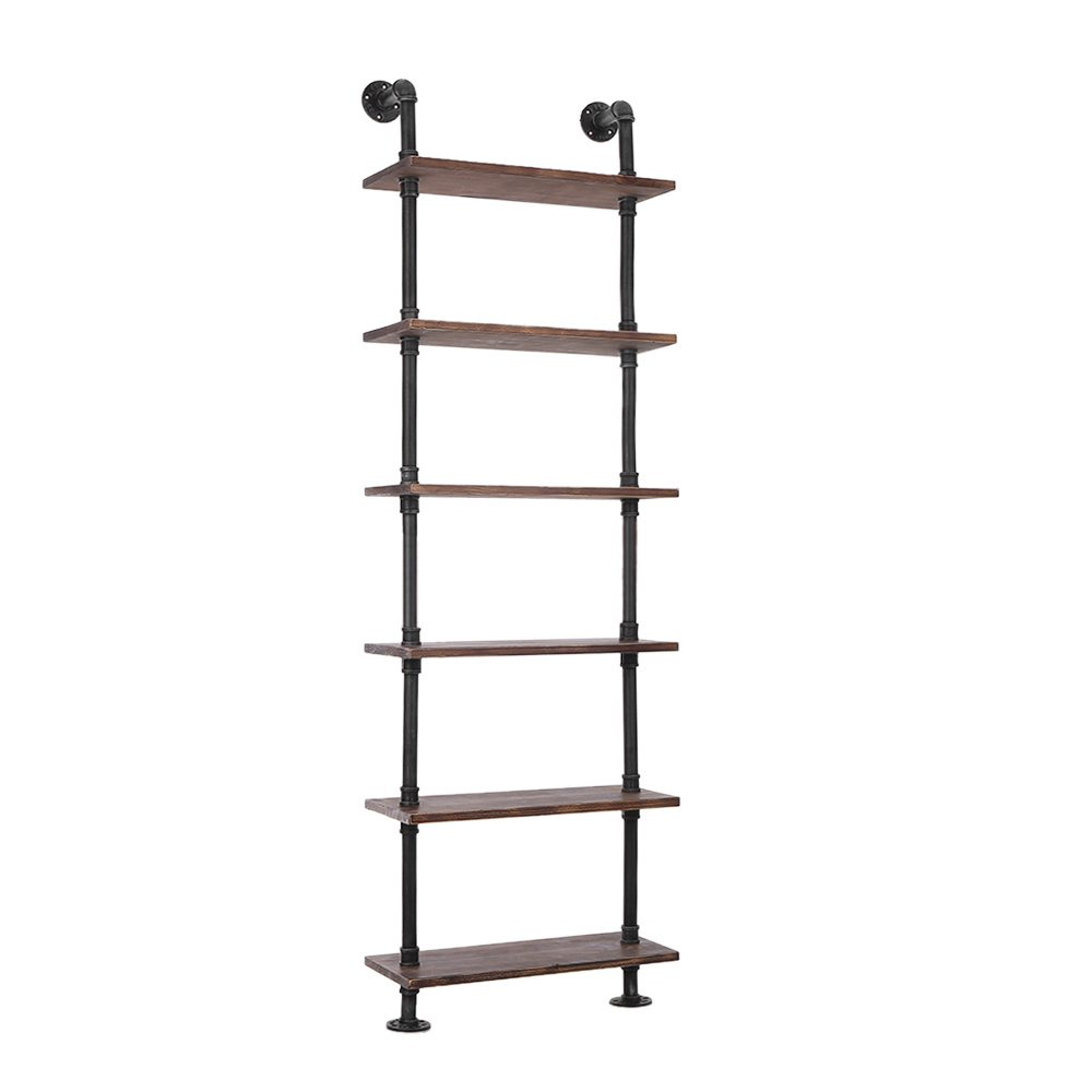 IKayaa 6 niveaux Rustic Industrial Ladder Étagères murales W - Wood Planks DIY Iron Pipe Standing Book Shelf Utility
