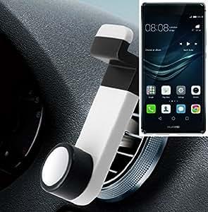 Smartphone universal Holder Holder / Car montaje / parabrisas para el Huawei P9 Plus. blanco. Titular de teléfono de la rejilla de ventilación se puede utilizar con los teléfonos inteligentes y las tabletas de 5.2 cm - 9,4 cm de ancho. Titular Smartphone ventilación Teléfono móvil Holder Soporte para coche Rejilla de ventilación Air Vent Monte ranura de ventilación Holder, envío de Alemania en un día laborable