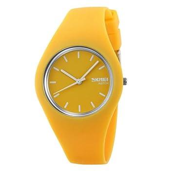 Reloj mujer Fashion Casual relojes de cuarzo correa de silicona deporte Lady relojes mujer niña vestido reloj de pulsera 9068, amarillo: Amazon.es: Deportes ...
