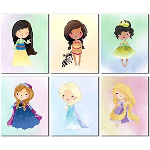 Disney Princess Kids Room Wall Decor - Mulan Anna Elsa Pocahontas Rapunzel Tiana Set of 6 Cute Art 8x10 (Disney Princess Framed Art)